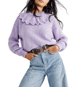 Free People Purple Light Knit Jumper with frills lilac
