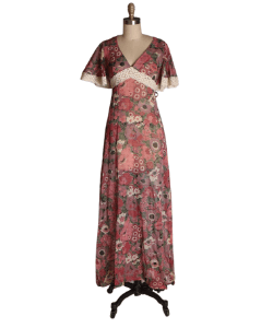 1970s Sheer Burgundy Floral Print Draped Butterfly Sleeve Bohemian Cottagecore Prairie Dress