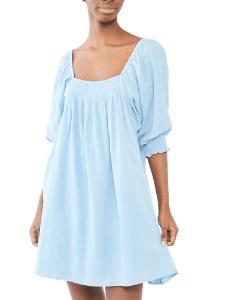 Pastel blue balloon sleeve mini dress by Apiece Apart via Shopbop