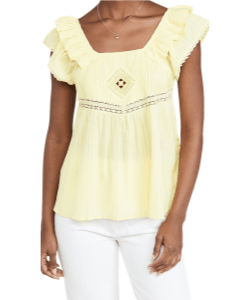 Flutter sleeve pastel yellow top by Ba&sh via Shopbop, western style top