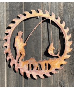 Exterior Rustic Dad Sign Dad Fathers Day Father Dad Present Fishing Garden Wall Art Shed Sign Hanging Metal Rustic Art Gift Fathers Day