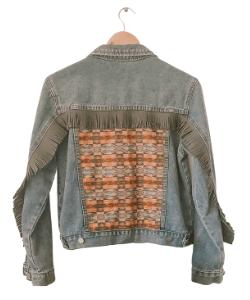 Melbelle western jacket, denim fringe jacket, western style boho style, festival jacket