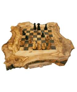 Unique Rustic Chess Set, Unique Olive Wood Natural Edges Chess Set, Personalized Custom Wooden Chess Board Set Game, Dad gift