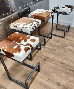 Cowhide bar stool BESPOKE/ CUSTOM-MADE, counter top, breakfast bar, rustic, farmhouse, industrial