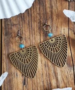 Boho earrings, tribal earrings, antique bronze earrings, western jewelry, turquoise earrings, mandala ethnic earrings, drop arrow earrings