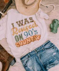 Raised on 90s country tee, country music, western fashion