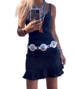 Leather Women Belt, White and Turquoise Wrap Belt, Adjustable Belts for Her, Boho Style
