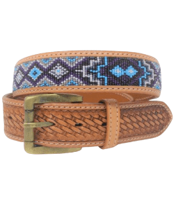 Personalized Heavy Duty Western Style Removeable Buckle Leather Beaded Belt