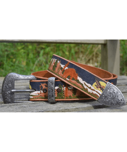 Western-style hand painted and finished strong leather belt