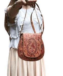 Small TOOLED LEATHER BAG, Embossed Leather Purse Burnt Orange, Vintage Western Bag, Cowboy Saddle Bag, Boho Women's Bag, Mini Hippie Purse, western style