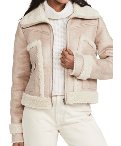 MOTHER. The Patch Pocket Pink Roamer Jacket, faux suede