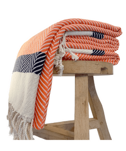 Orange and navy Throw blanket, blanket, handwoven throw, sofa throw, turkish blanket, throw, navy blanket, sofa blanket, throw pillow, boho decor, boho