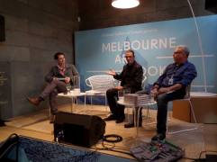 Left to right: CDH, Mark Holsworth, David Tenenbaum (Publisher Melbourne Books)