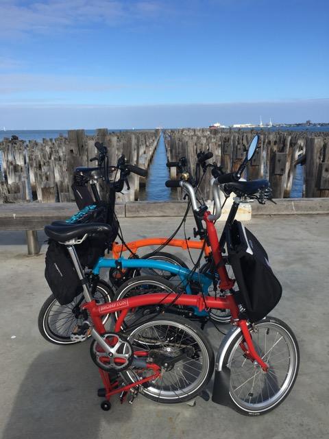 Three Bromptons on Princes Pier, Port Melbourne