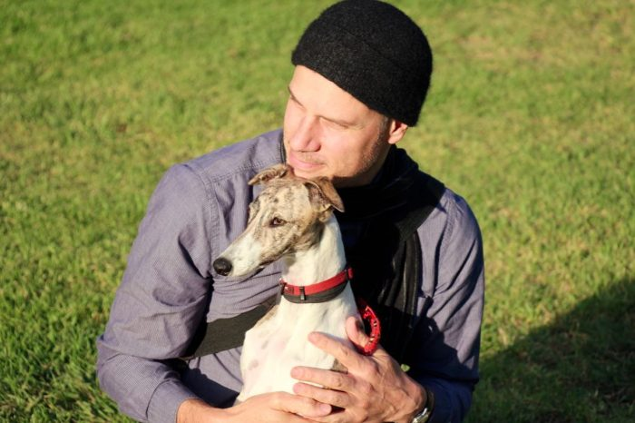 Melbourne petsitter, Mark, with Olley the Whippet