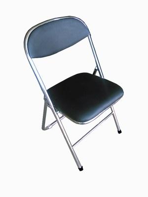 Chrome Frame Black Padded Folding Chair
