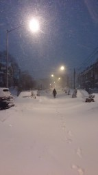 Walking on an unplowed street