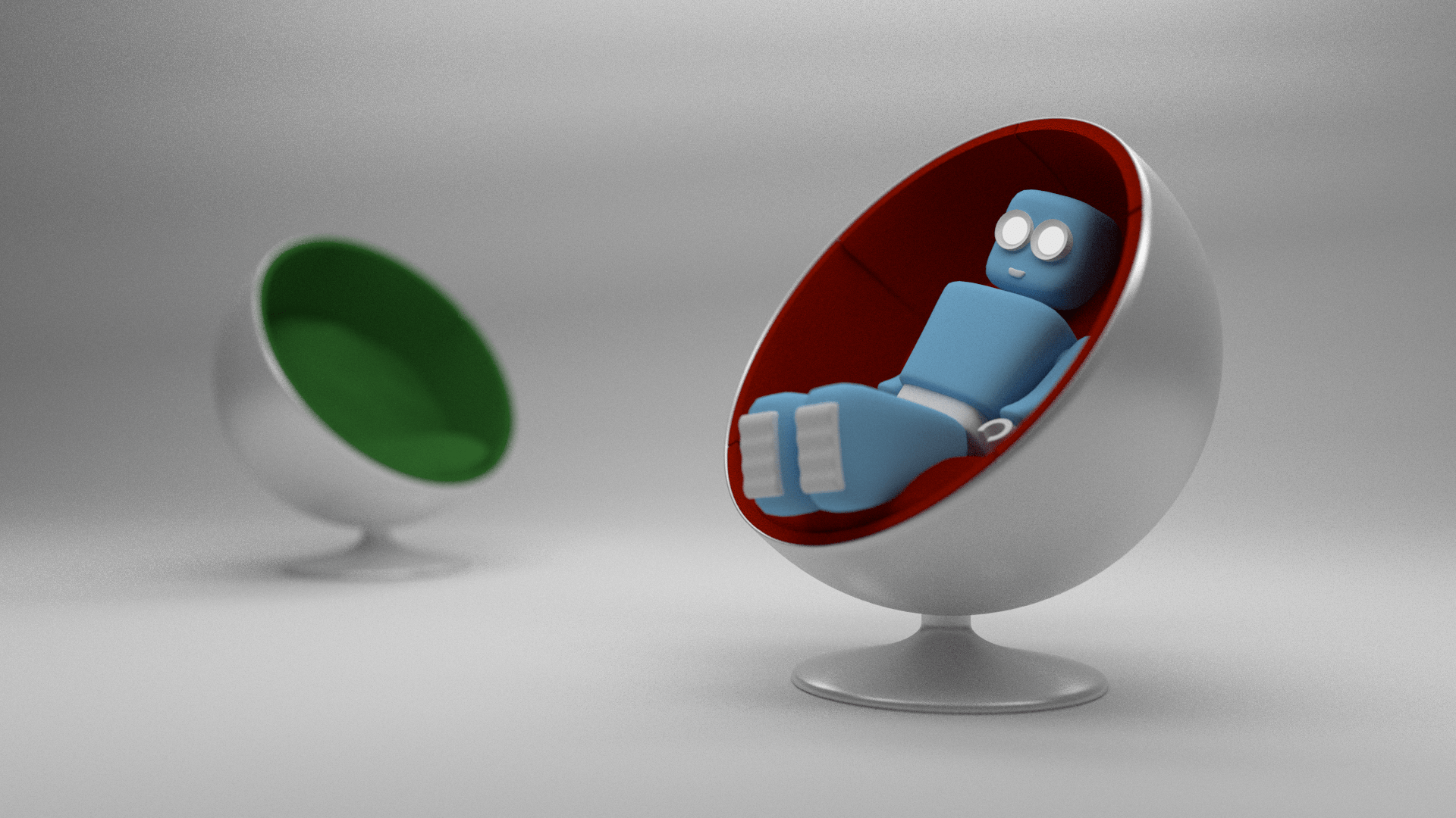 small ball chair cushioned desk robot and learning blender
