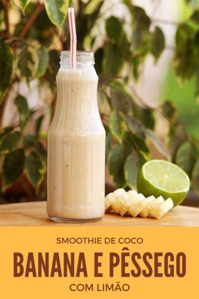 Smoothie de coco, pêssego e banana, limão