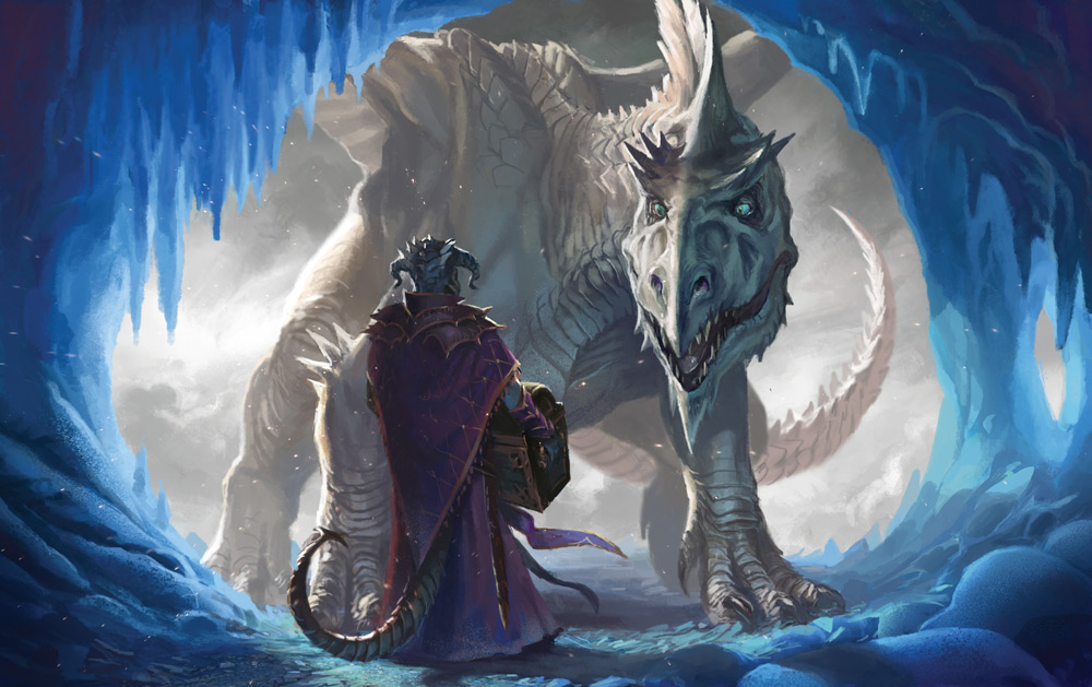 Cloaked person holding a chest and facing a dragon