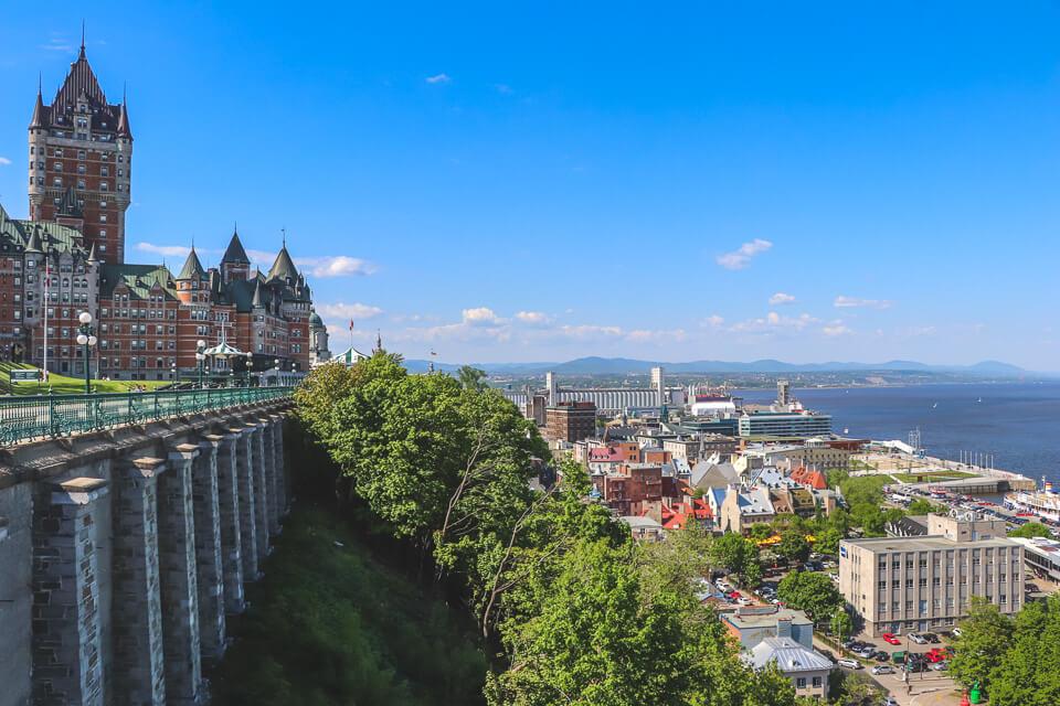 Roteiro de 3 dias em Quebec com mirante para cidade alta e cidade baixa