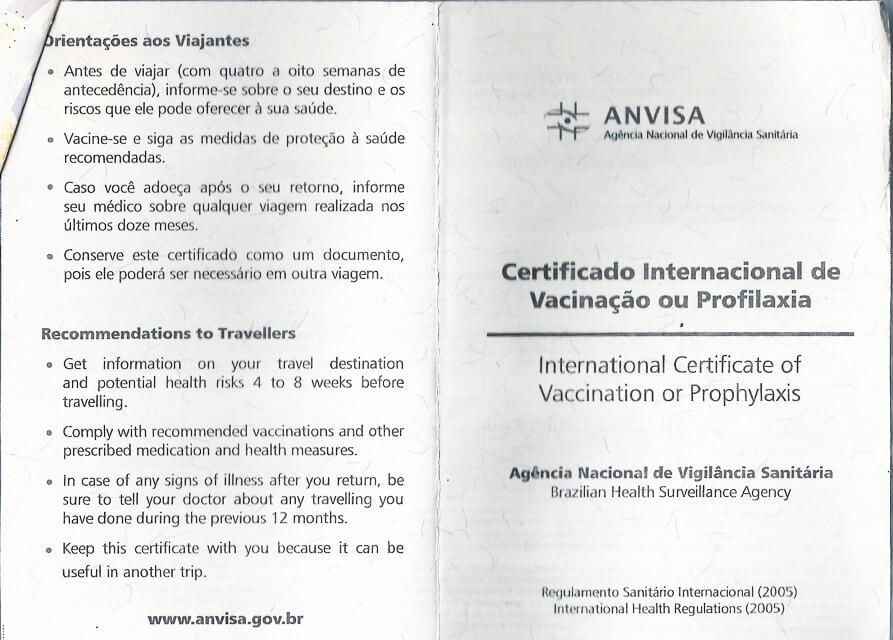Como fazer a carteira internacional de vacina de febre amarela