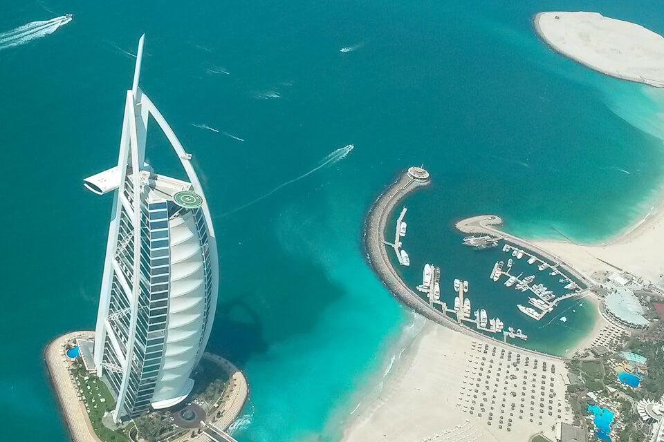 Ver Dubai de cima, de helicóptero