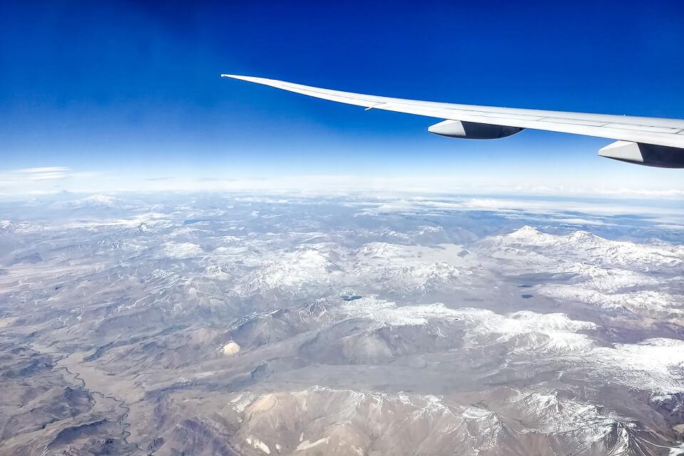 Qual lado do avião é melhor para ver a Cordilheira dos Andes