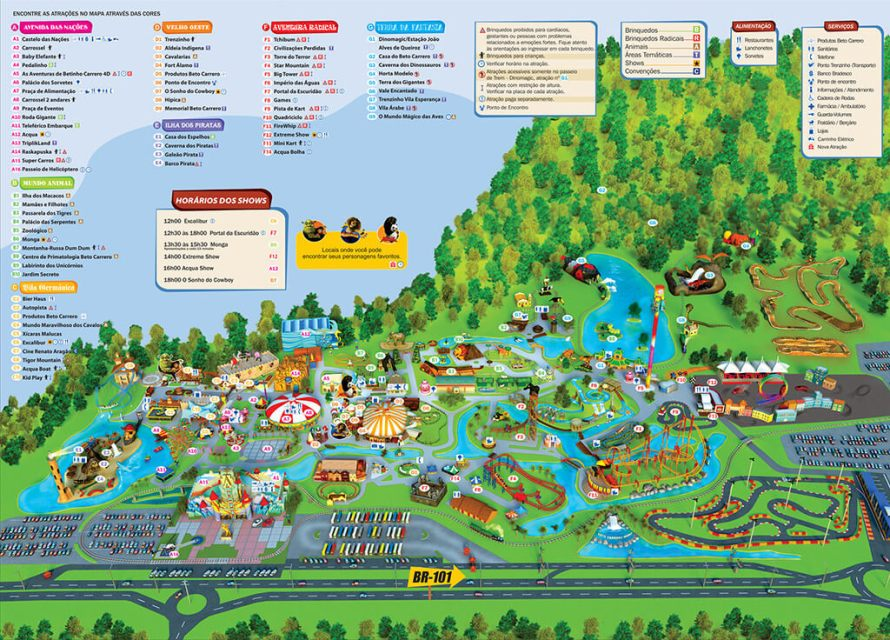 Mapa do parque do Beto Carrero World