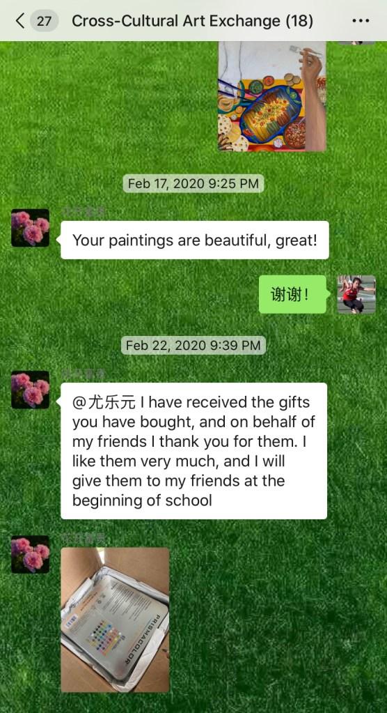 The Lanzhou Team Receives Art Supplies!