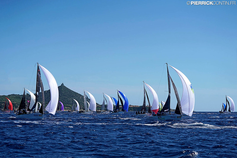 Melges 24 fleet on Day One of the Melges 24 Worlds 2019 in Villasimius. Photo © Pierrick Contin / IM24CA