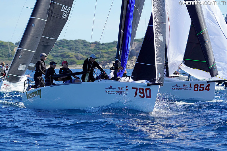Estonian entry Lenny EST790 of Tõnu Tõniste won Race Two and is second overall and firm leader among the Corinthians after three races at the Melges 24 Worlds 2019. Photo © Pierrick Contin / IM24CA