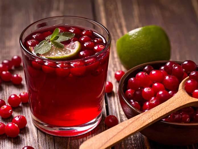 Suco de mirtilos vermelhos