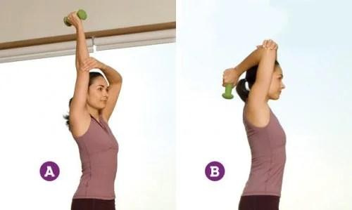 Extensao-de-triceps-500x299 5 exercícios caseiros para braços mais tonificados