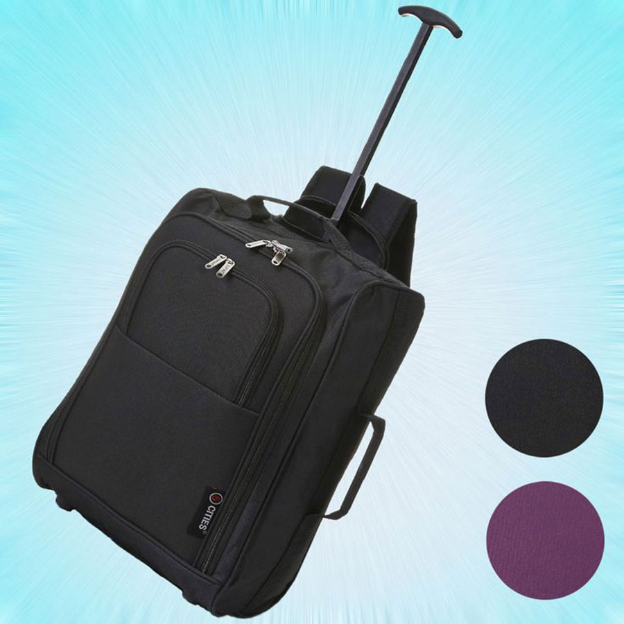 5.5 Cities Black Carry On Lightweight Cabin Approved Trolley Bag Hand Luggage