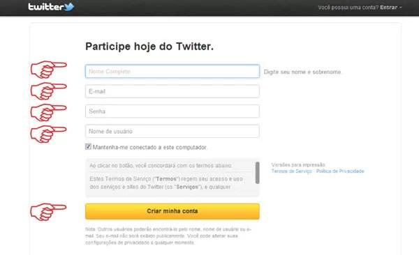 criar perfil Twitter