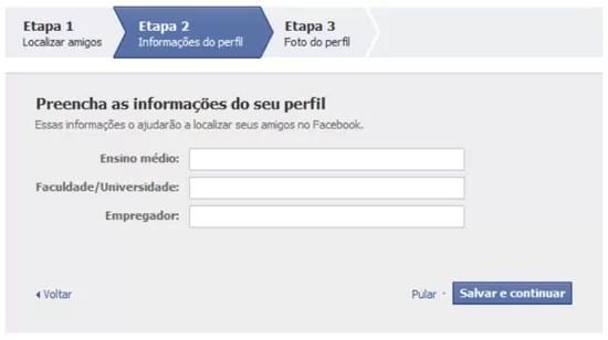Informações perfil Facebook