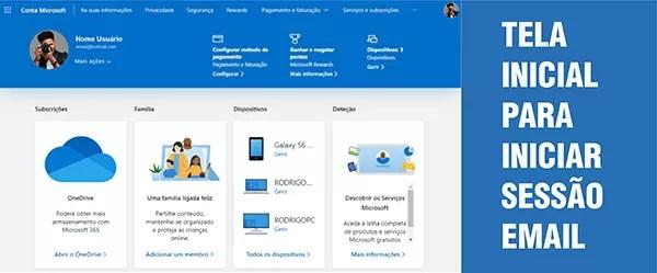 Tela Inicial Contas Microsoft