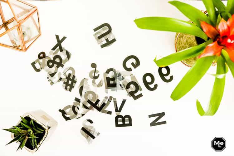 Action lightbox met letters