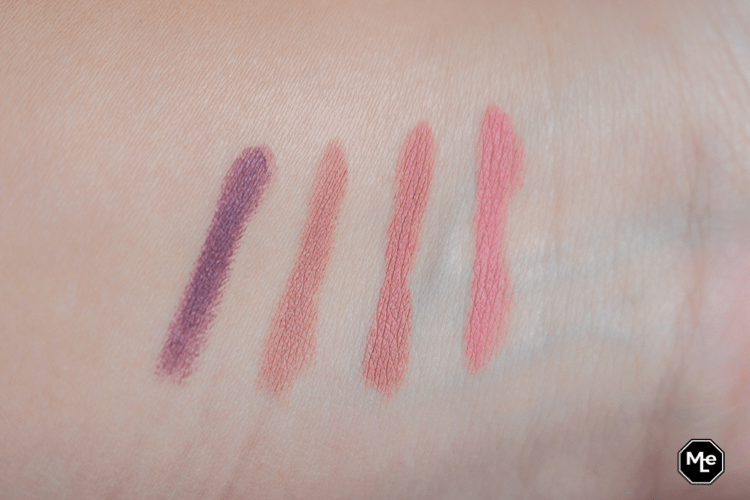 Essence This Is Me lipstick swatches, 01,03,05 en 08