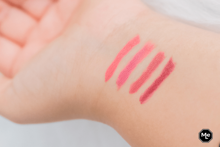 Essence This Is Me lipstick swatches, 02,04,06 en 07