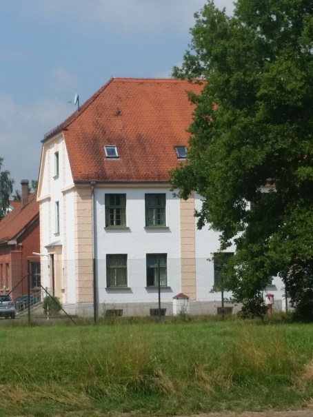 One of the few remaining administrative buildings