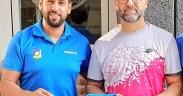 Amin Azmani, con el entrenador Indalo González