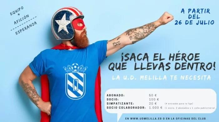 Cartel promocional por la U.D. Melilla