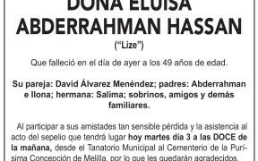 Esquela de DOÑA ELUISA ABDERRAHMAN HASSAN