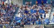 Aficionados de la U.D. Melilla en las gradas del Estadio Municipal Álvarez Claro