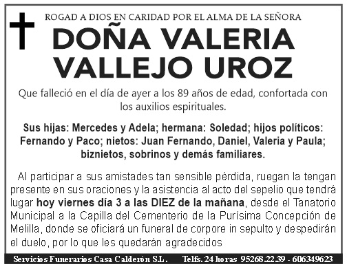 ESQUELA- DOÑA VALERIA VALLEJO UROZ