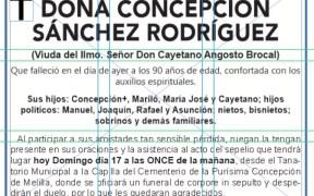 ESQUELA- DOÑA CONCEPCIÓN SÁNCHEZ RODRÍGUEZ