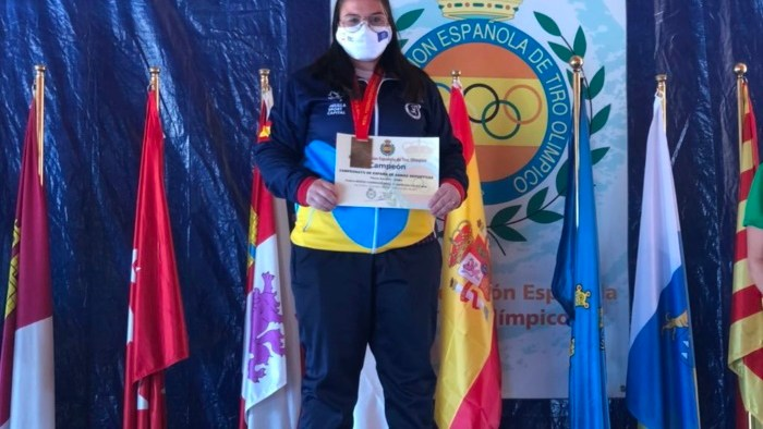 Cristina Muñoz en el podium