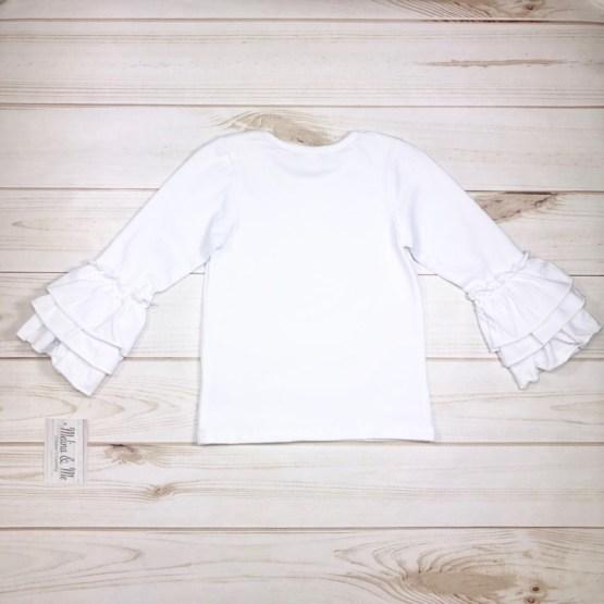 Melina & Me - Basic White Ruffle Long Sleeve (Back)